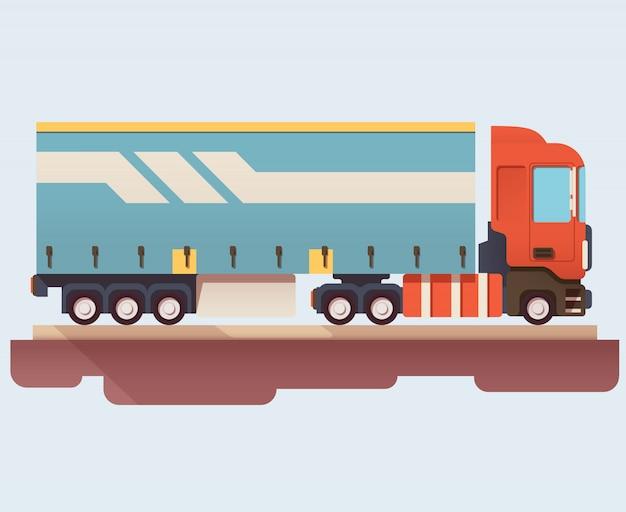 Platte pictogram van vrachtwagen met aanhangwagen