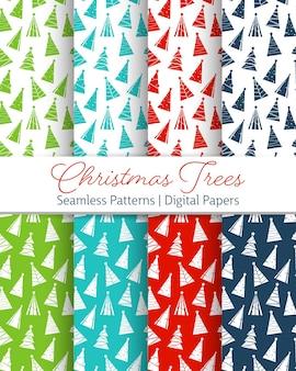 Platte pictogram xmas bomen silhouet naadloze patroon. vector achtergrond voor behang, wenskaart, poster, uitnodiging, stof, packadge papier.