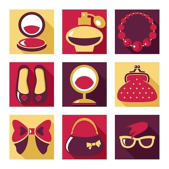 Platte pictogrammen. set vrouw mode symbolen