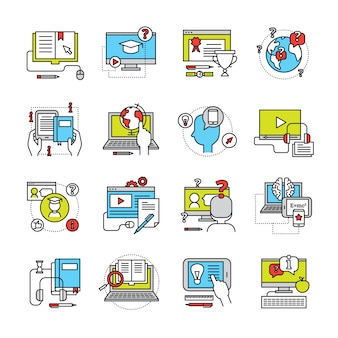 Platte pictogrammenset op thema online onderwijs met laptop monitor telefoon en pad communicatie geïsoleerde vectorillustratie