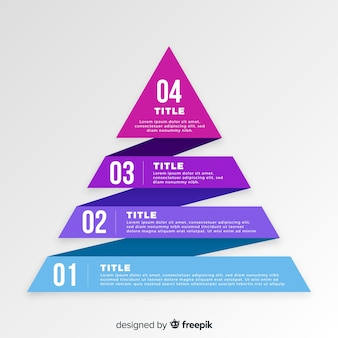 Platte piramide infographic stappen sjabloon