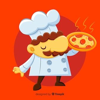 Platte pizza chef-kok achtergrond