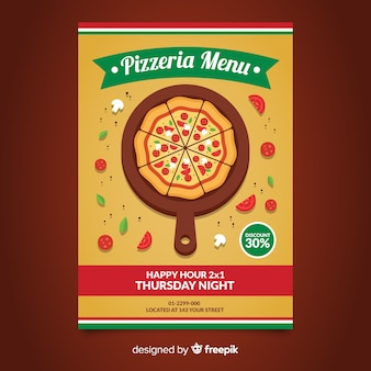 Platte pizza flyer sjabloon