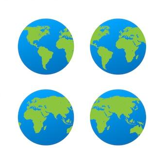 Platte planeet aarde pictogram.