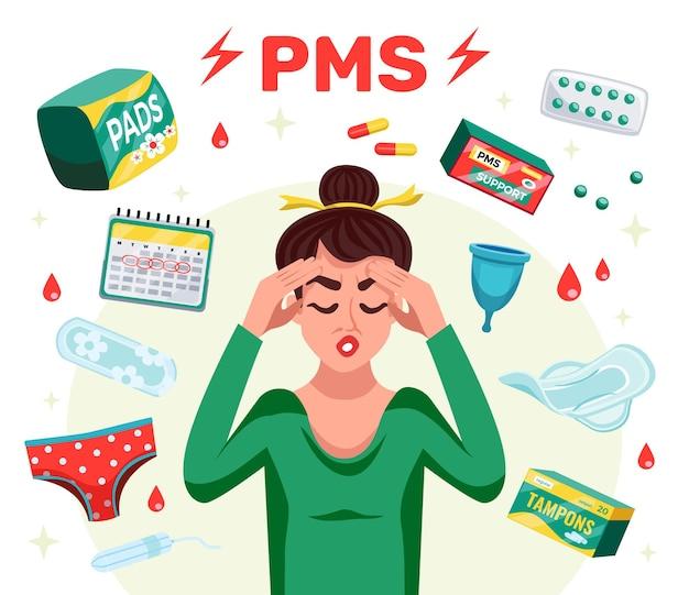Platte pms-vrouwensamenstelling met menstruatiehulpmiddelen en vrouw met hoofdpijn
