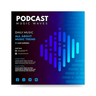 Platte podcast muziek kwadraat flyer