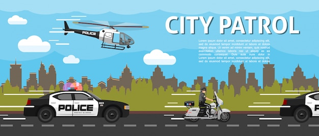 Platte politie stad patrouille sjabloon met helikopter auto's en politieagent rijden motorfiets op weg