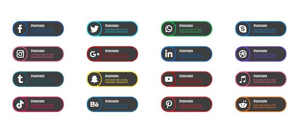 Platte populaire sociale websitepictogrammen met banners stellen gratis pictogrammen in