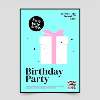 Platte postersjabloon voor verjaardagsontwerp