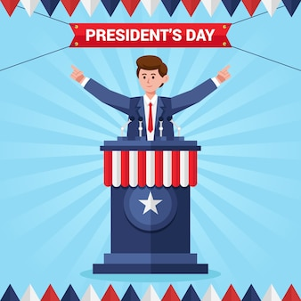 Platte president dag illustratie