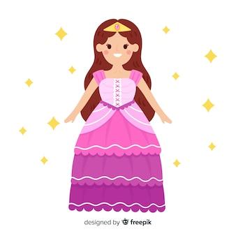 Platte prinses met roze jurk