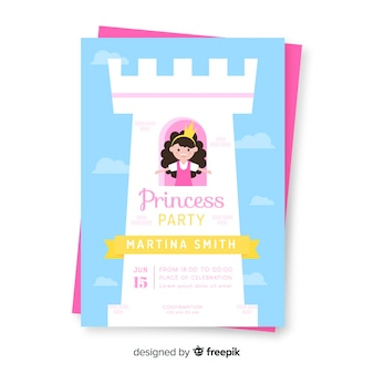 Platte prinses uitnodiging voor feest