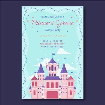 Platte prinses verjaardag uitnodiging sjabloon met kasteel