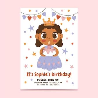 Platte prinses verjaardagsuitnodiging