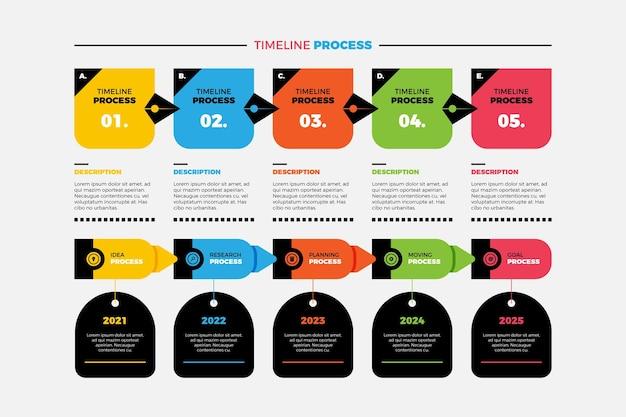 Platte proces infographic sjabloon