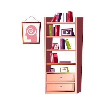 Platte psycholoog kantoor interieur illustratie met boekenkast en poster aan de muur