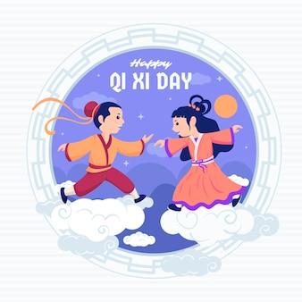 Platte qi xi dag illustratie