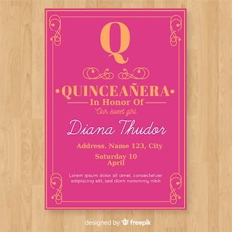 Platte quinceanera kaartsjabloon