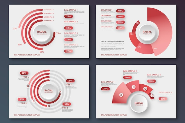 Platte radiale infographic collectie