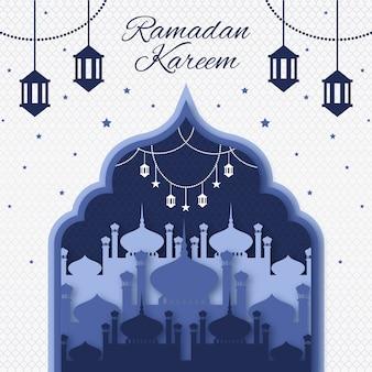 Platte ramadan achtergrond concept