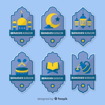 Platte ramadan badge-collectie