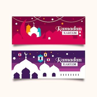 Platte ramadan banners ontwerpsjabloon