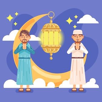 Platte ramadan illustratie