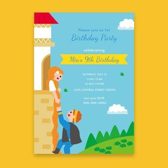 Platte rapunzel verjaardag uitnodiging sjabloon