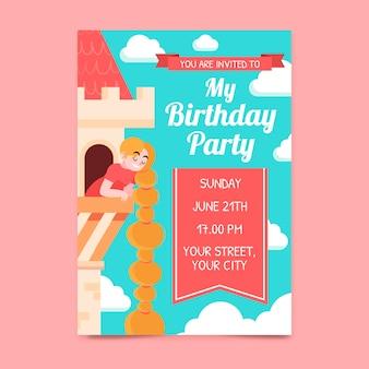 Platte rapunzel verjaardagsuitnodiging