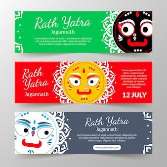 Platte rath yatra-banners instellen