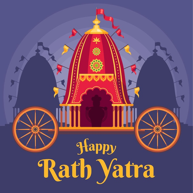 Platte rath yatra viering illustratie