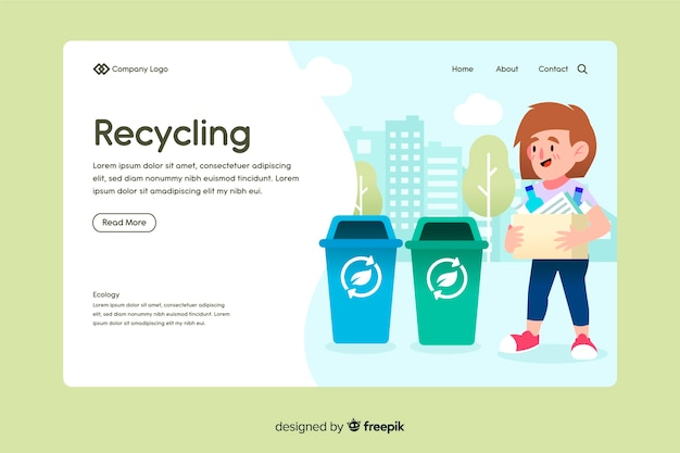 Platte recycling bestemmingspagina sjabloon