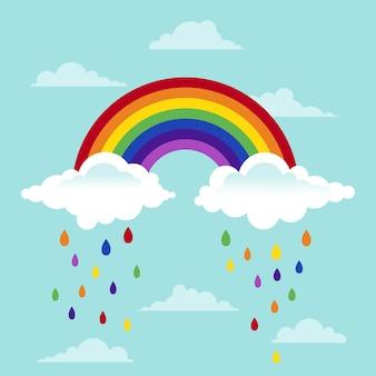 Platte regenboog en wolken concept