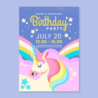 Platte regenboog verjaardag uitnodiging sjabloon