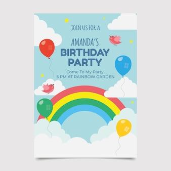 Platte regenboog verjaardagsuitnodiging met ballonnen