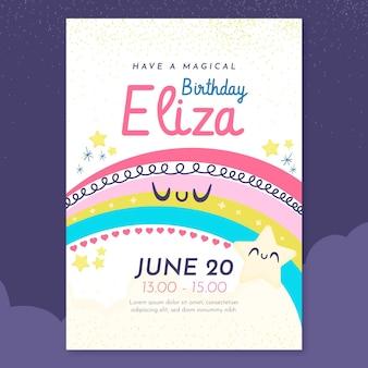 Platte regenboog verjaardagsuitnodiging