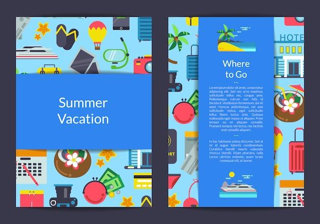 Platte reizen elementen kaart, flyer sjabloon voor reisbureau of apparatuur winkel illustratie