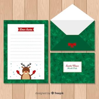 Platte rendieren kerst envelop sjabloon