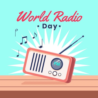 Platte retro radio geïllustreerd
