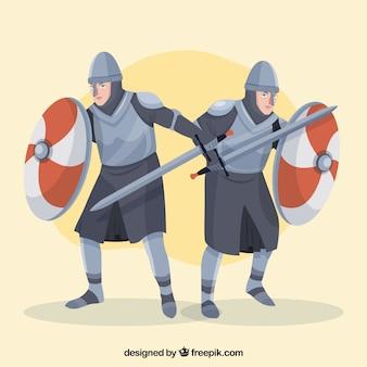 Platte ridders in verschillende poses