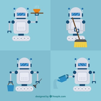 Platte robot karakter met verschillende poses-collectie