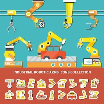 Platte robotarm gekleurde samenstelling met industriële robotarmen iconen collectie beschrijving illustratie