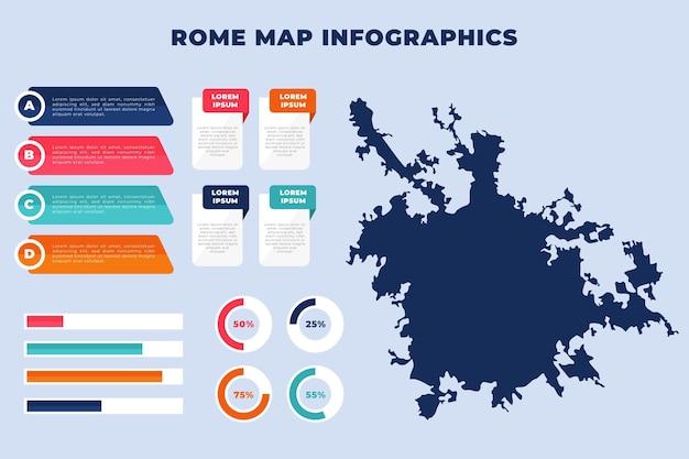 Platte rome kaart infographics sjabloon