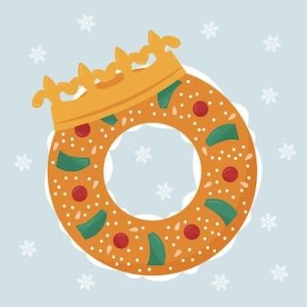 Platte roscón de reyes illustratie