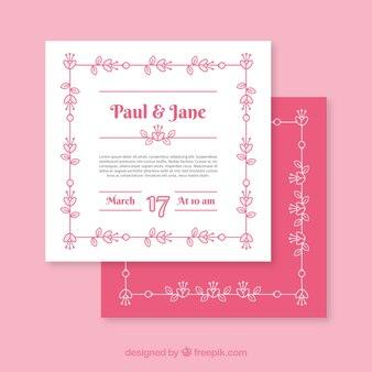 Platte roze en witte bruiloft uitnodiging