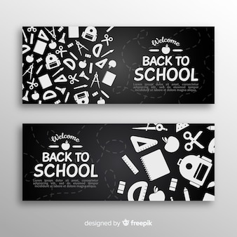 Platte rug naar school banners