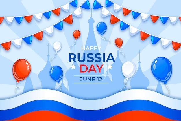 Platte rusland dag achtergrond met ballonnen