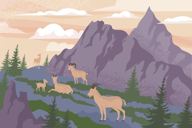 Platte samenstelling van de natuur in de bergen met hooglandlandschap in de buitenlucht en een groep geiten voor kliffenillustratie cliff