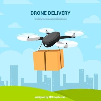 Platte samenstelling van drone delivery