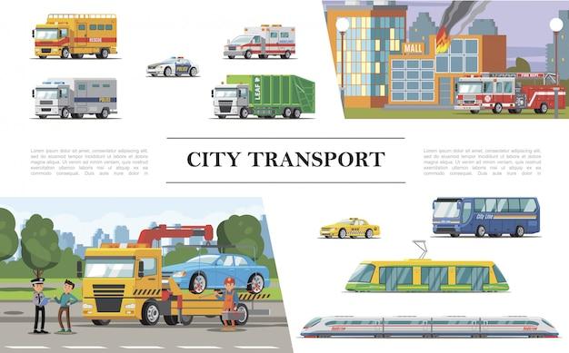Platte samenstelling van het stadsvervoer met brandweerwagen in de buurt van brandende gebouwen, ambulance, politie, taxi, auto's, trambus, passagierstrein, wegassistentie